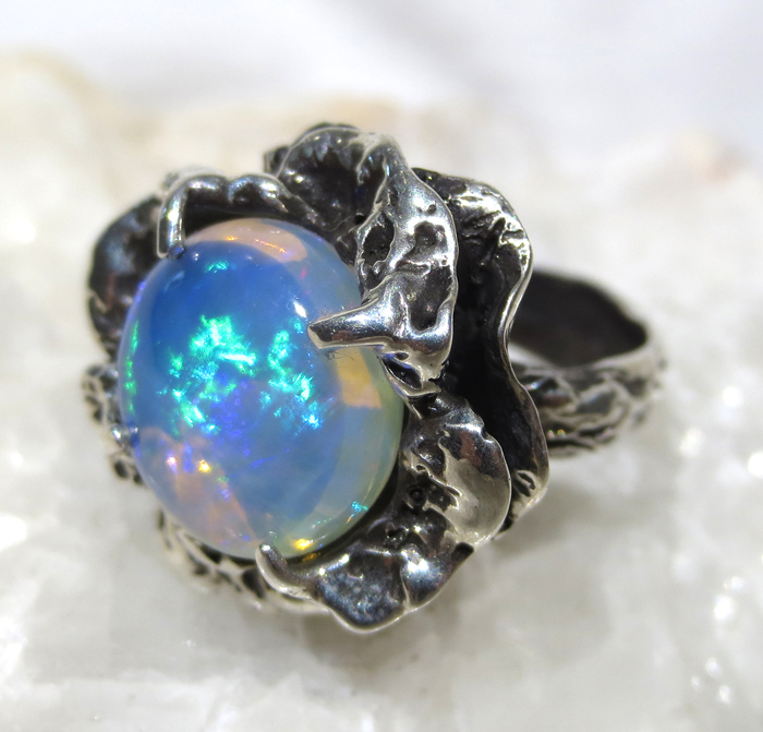 Blue Opal Sterling Silver Flower Ring