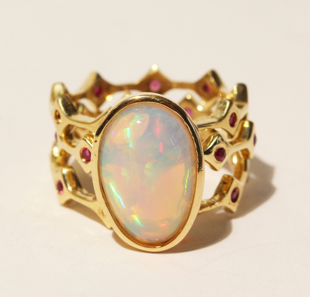Stackable Gold Opal Ring