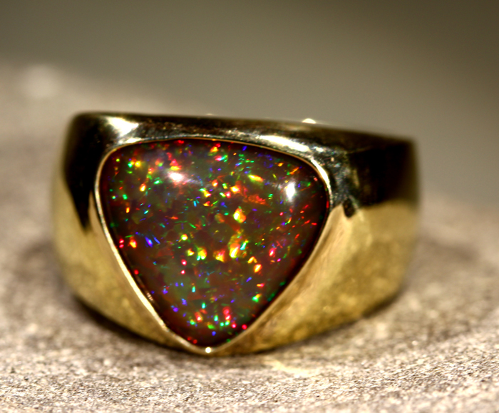 18 Karat Brown Opal Men's Ring