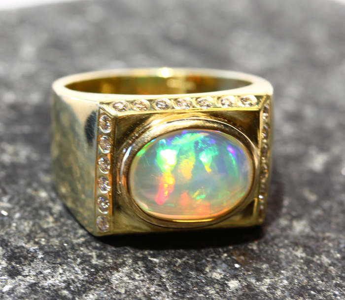 Opal and Diamond Men's Ring