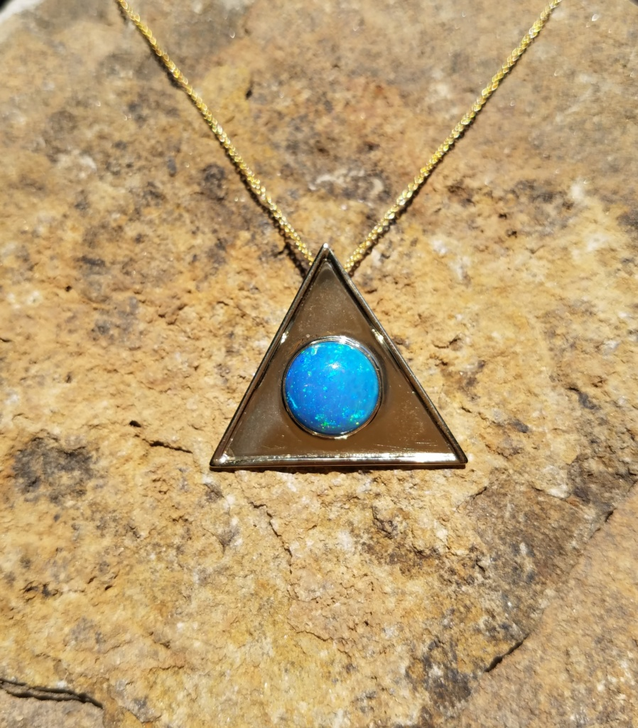 Triangle Opal Pendant 14 Gold